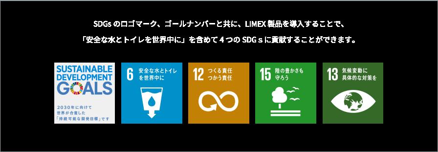 SDGsのロゴマーク、ゴールナンバーと共に、LIMEX製品を導入することで、「安全な水とトイレを世界中に」を含めて4つのSDGsに貢献することができます。